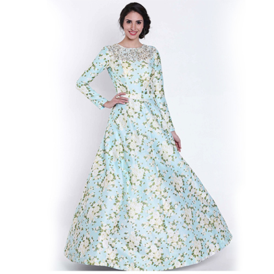 Pretty Sky Blue Designer Partywear Digital Printed Cotton Gown