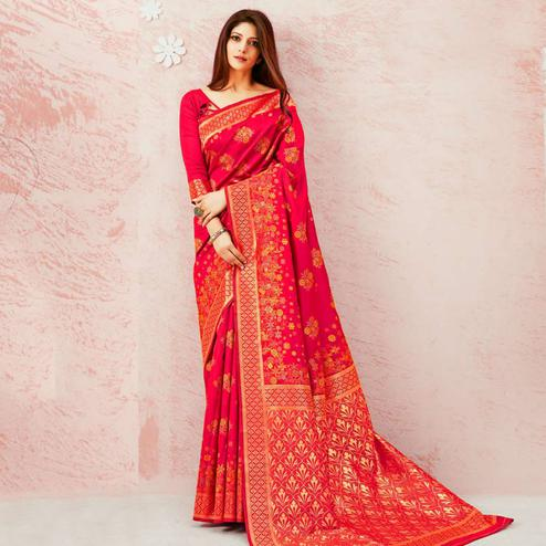Magnetic Rose Red Colored Festive Wear Woven Soft Silk Saree