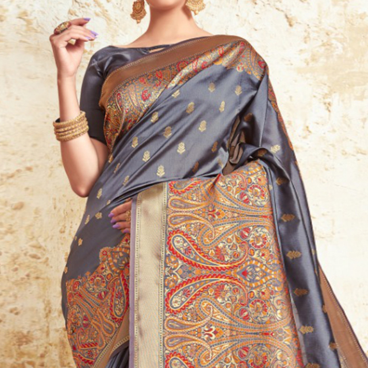 Excellent Grey Colored Festive Wear Woven Silk Saree