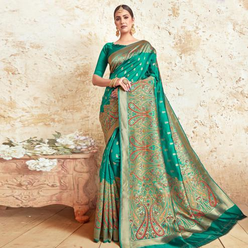 Preferable Turquoise Green Colored Festive Wear Woven Silk Saree
