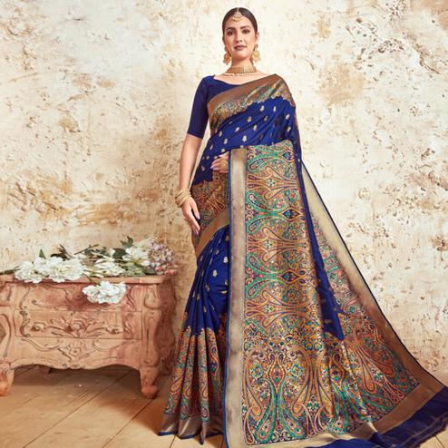 Marvellous Royal Blue Colored Festive Wear Woven Silk Saree