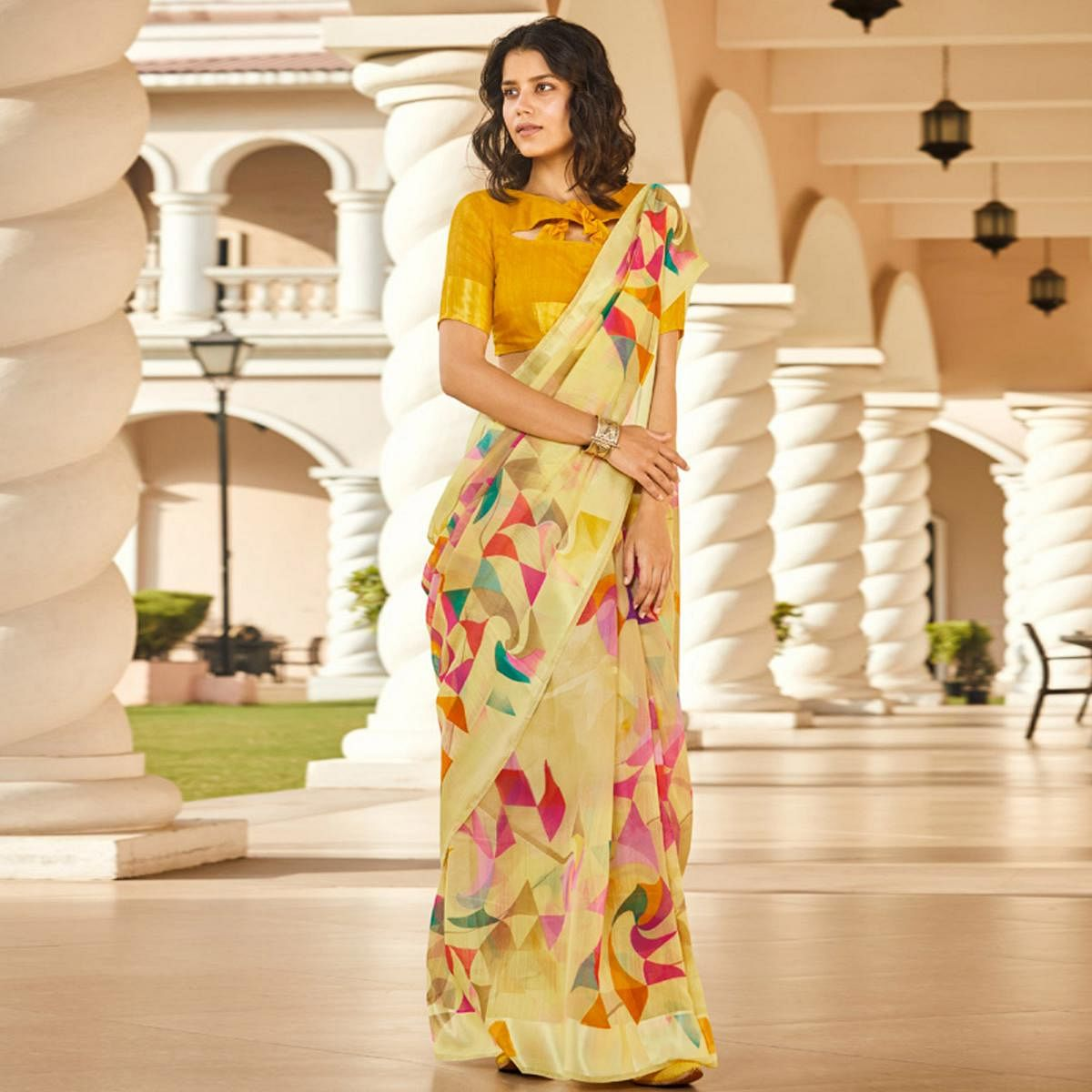 Classy Yellow Colored Casual Wear Printed Linen - Cotton Saree