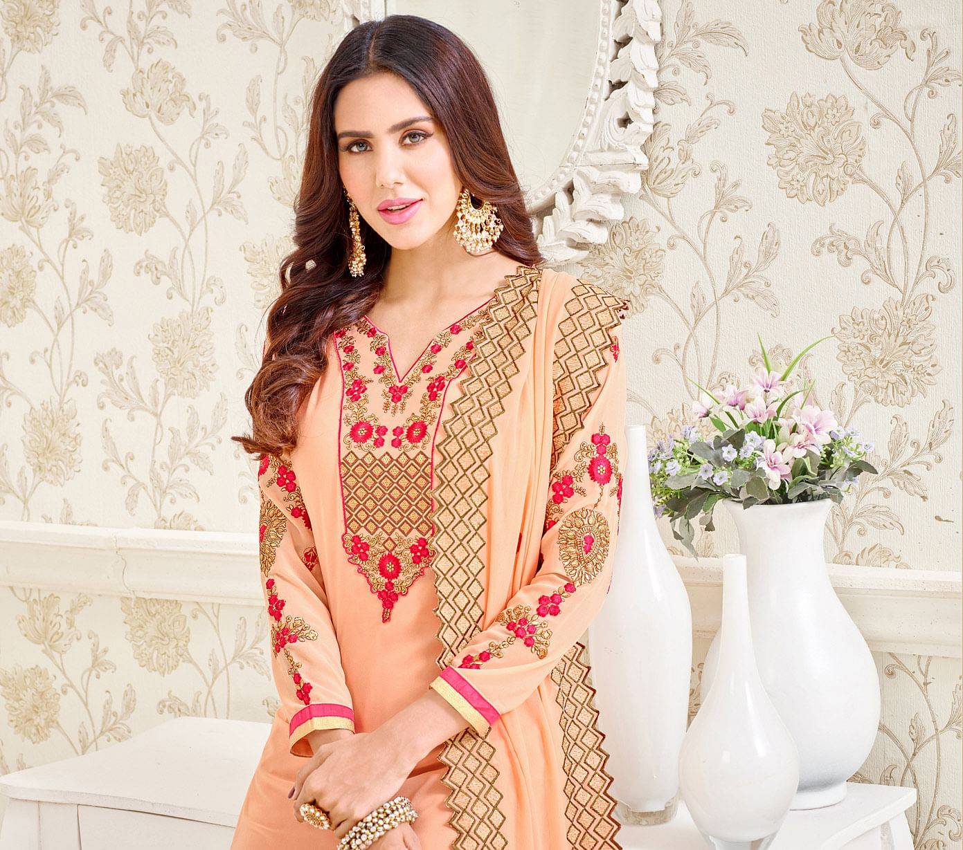 Light Peach Floral Embroidered Work Suit