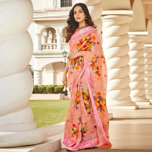 Capricious Peach Colored Casual Wear Printed Linen - Cotton Saree