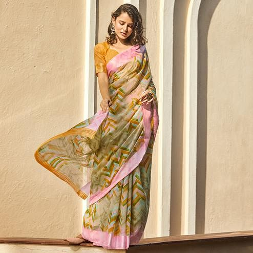 Entrancing Pink - Multi Colored Casual Wear Printed Linen - Cotton Saree
