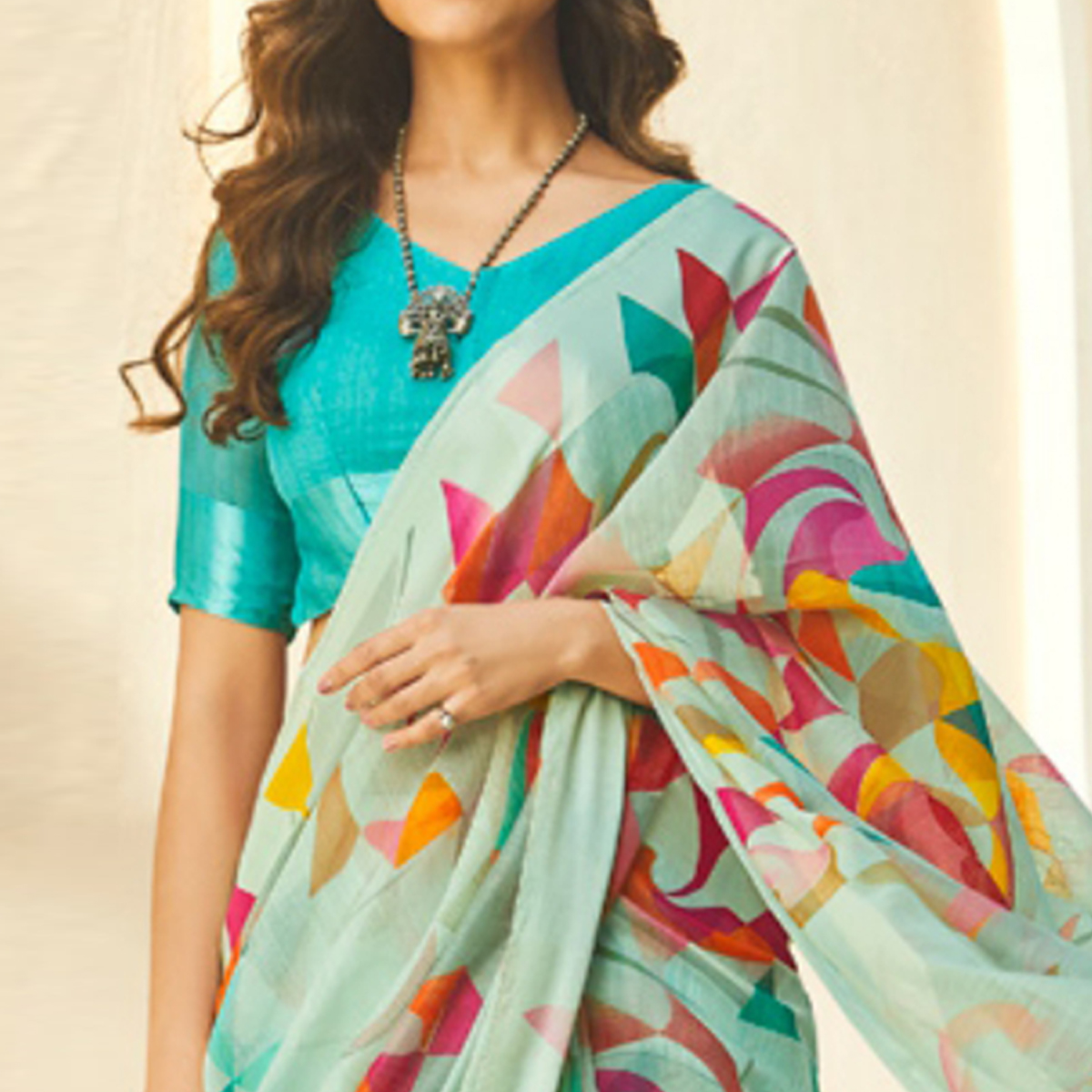 Groovy Aqua Blue Colored Casual Wear Printed Linen - Cotton Saree