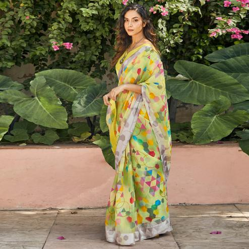 Glorious Green Colored Casual Wear Printed Linen - Cotton Saree