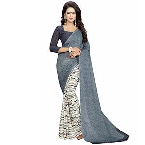 Gray Casual Wear Printed Half And Half Georgette Saree