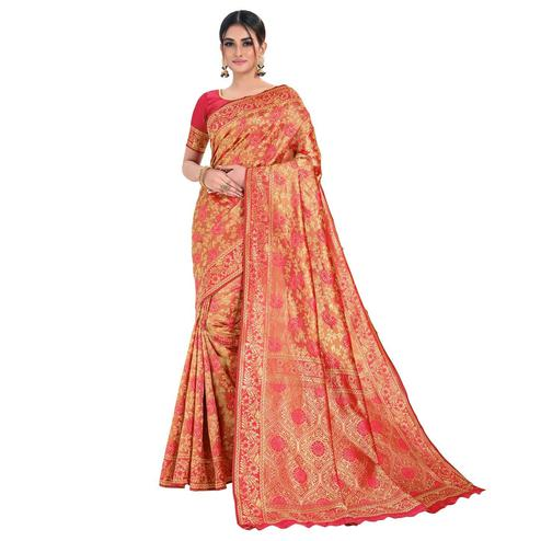 Vbuyz - Women's Pink & Light Orange Colored Festive Wear Woven Banarasi Silk Saree