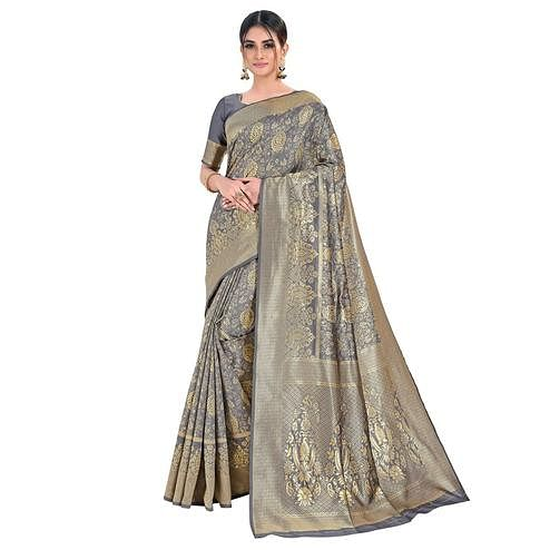 Vbuyz - Women's Grey Colored Festive Wear Woven Banarasi Silk Saree