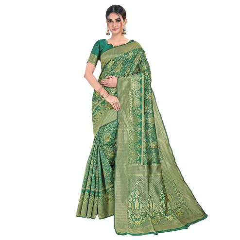 Vbuyz - Women's Aqua Green Colored Festive Wear Woven Banarasi Silk Saree
