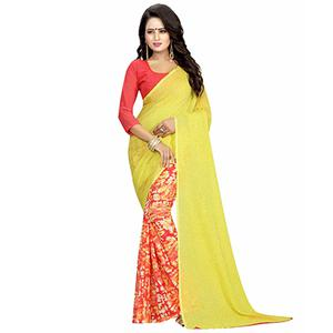Yellow-Red Casual Wear Printed Half And Half Georgette Saree