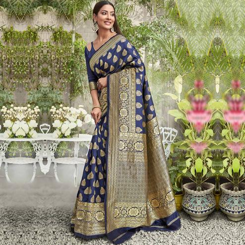 Adorable Navy Blue Colored Festive Wear Woven Jacquard Silk Saree