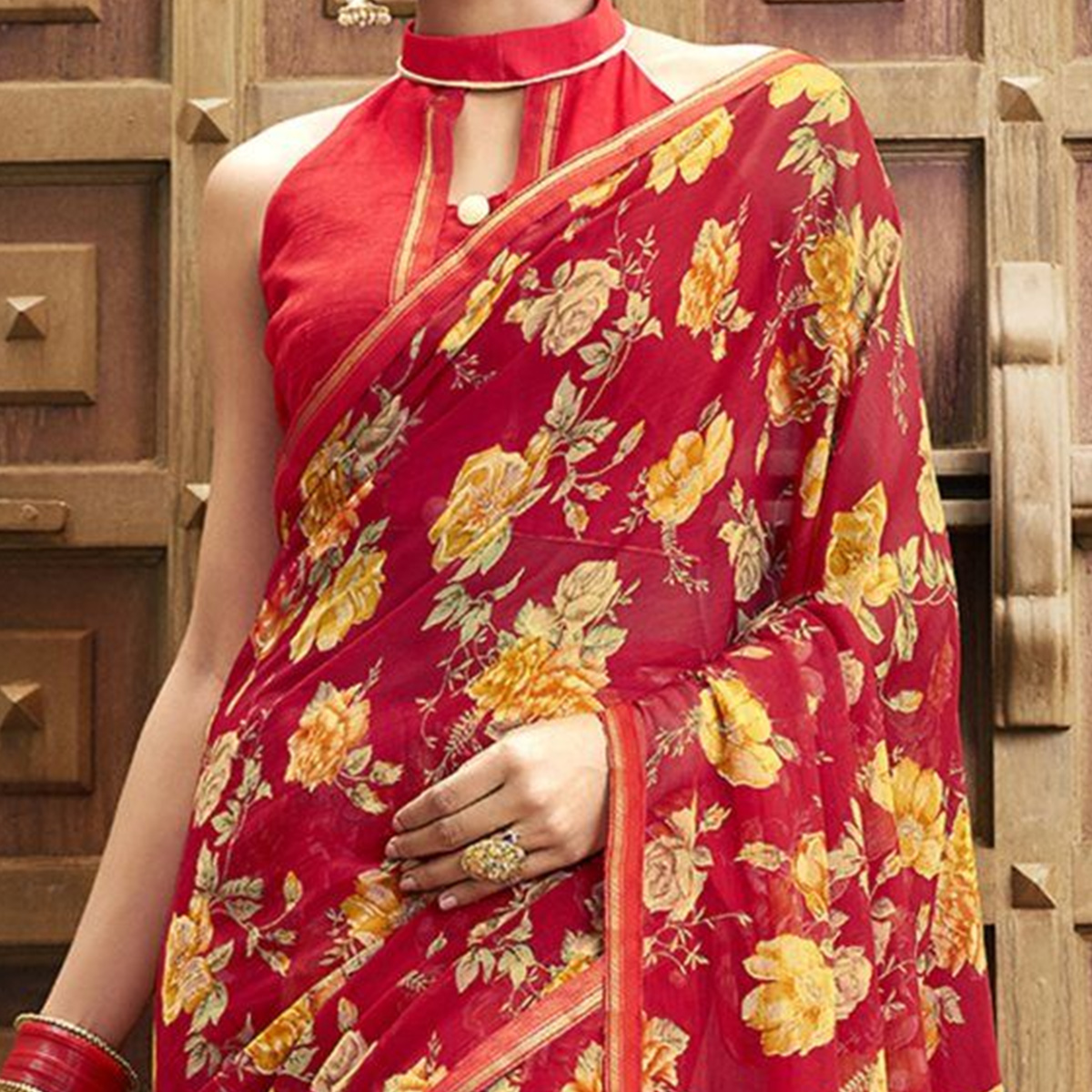 Graceful Red Colored Casual Wear Floral Printed Chiffon Saree