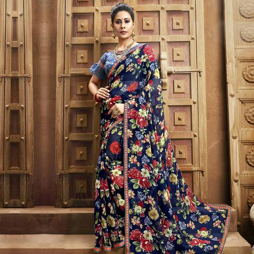 Blooming Blue Colored Casual Wear Floral Printed Chiffon Saree