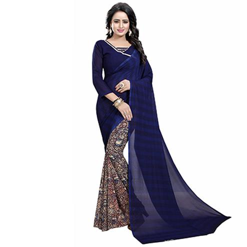 Navy Blue Casual Wear Printed Half And Half Georgette Saree