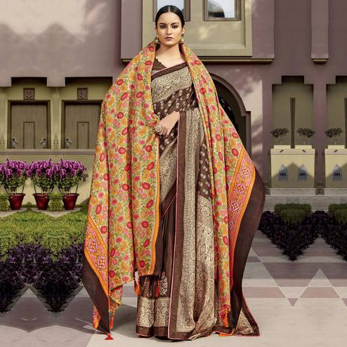 Gorgeous Brown Colored Party Wear Printed Chanderi Silk Saree