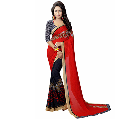 Red-Black Casual Wear Printed Half And Half Georgette Saree