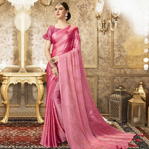Arresting Pink Colored Party Wear Printed Chiffon Saree With Tassels