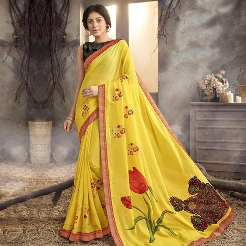Desirable Yellow Colored Party Wear Printed Georgette Saree
