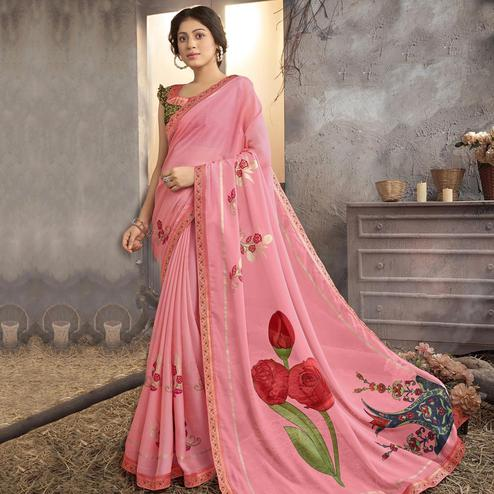 Trendy Pink Colored Party Wear Printed Georgette Saree