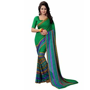 Green Casual Wear Printed Georgette Saree