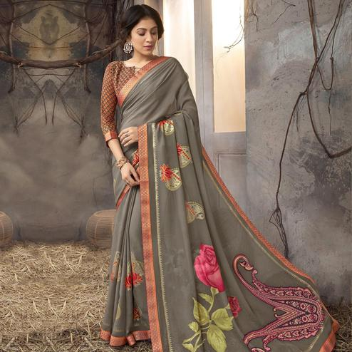 Elegant Grey Colored Party Wear Printed Georgette Saree