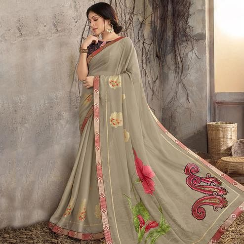 Energetic Beige Colored Party Wear Printed Georgette Saree