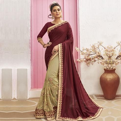 Mesmeric Beige-Maroon Colored Party Wear Embroidered Chanderi Silk Half & Half Saree