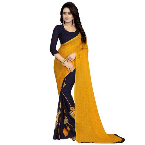 Yellow-Blue Casual Wear Printed Half And Half Georgette Saree
