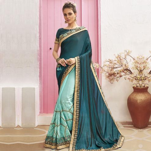 Refreshing Sky Blue Colored Party Wear Embroidered Chanderi Silk Half & Half Saree