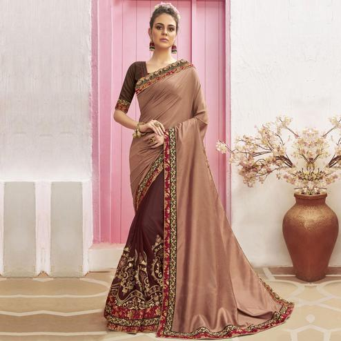 Magnetic Maroon-Brown Colored Party Wear Embroidered Chanderi Silk Half & Half Saree