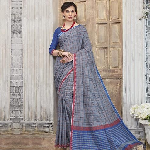 Alluring Grey Colored Casual Wear Printed Cotton Saree With Tassels