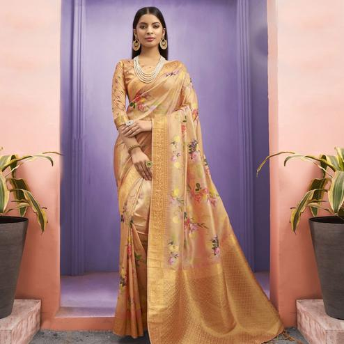 Capricious Peach Colored Party Wear Floral Printed Georgette Saree