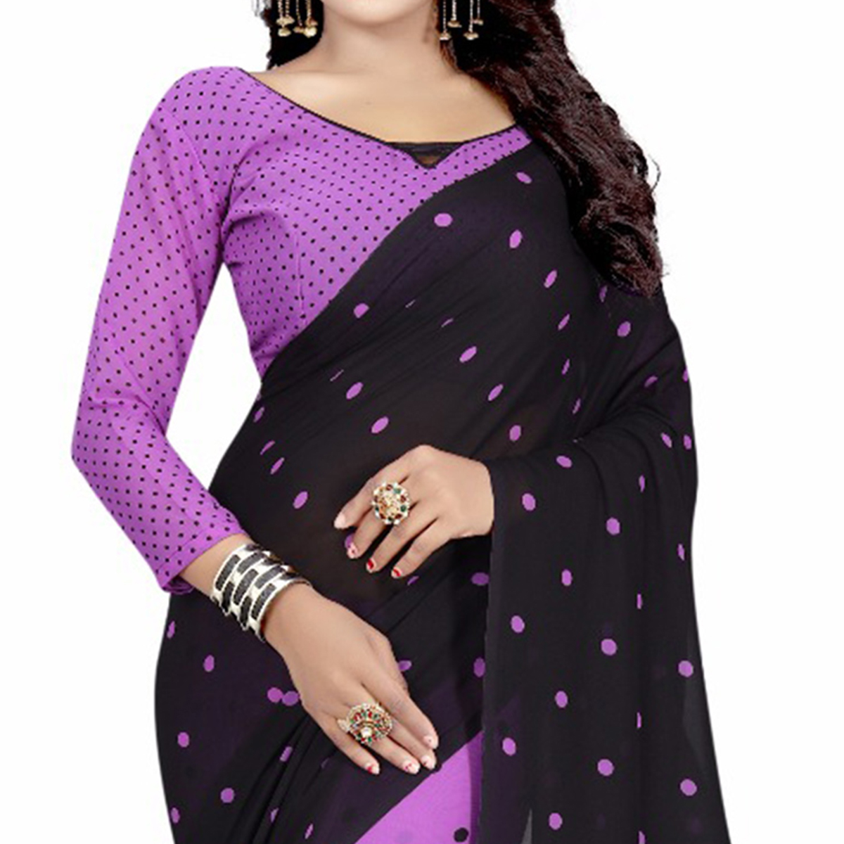 Black-Purple Casual Wear Printed Half And Half Georgette Saree