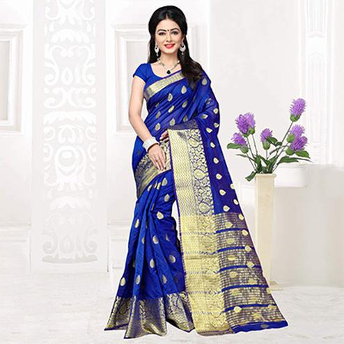 Dark Blue Weaving Silk Festive Wear Saree