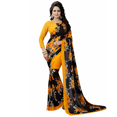 Black-Yellow Casual Wear Printed Half And Half Georgette Saree