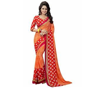 Orange Casual Wear Printed Georgette Saree