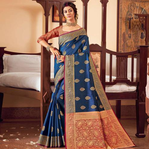 Graceful Blue Colored Festive Wear Woven Handloom Silk Saree