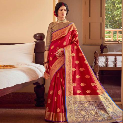 Blooming Red Colored Festive Wear Woven Handloom Silk Saree