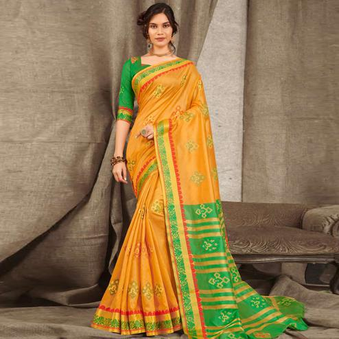 Charming Yellow Colored Festive Wear Woven Cotton Handloom Saree