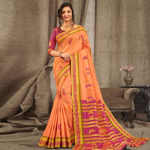 Jazzy Peach Colored Festive Wear Woven Cotton Handloom Saree
