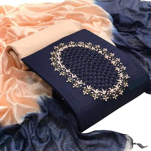Lovely Navy Blue Colored Partywear Embroidered Cotton Dress Material