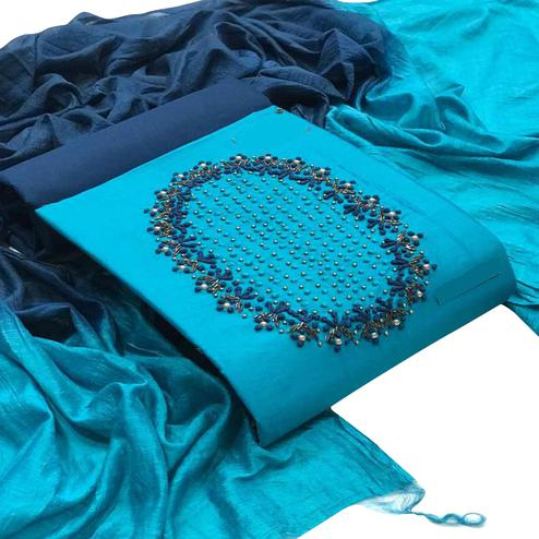Majesty Turquoise Blue Colored Partywear Embroidered Cotton Dress Material