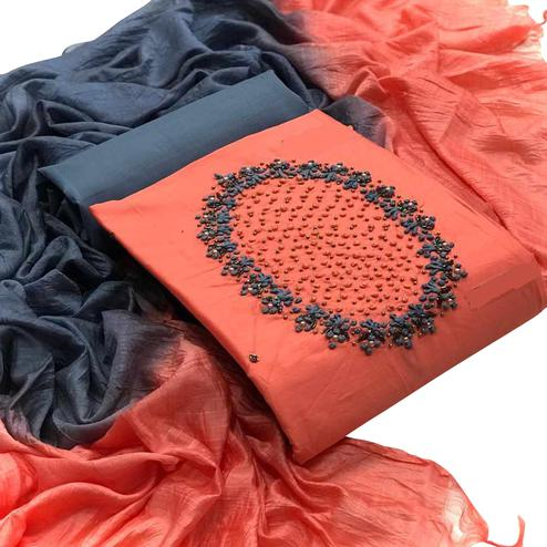 Impressive Orange Colored Partywear Embroidered Cotton Dress Material