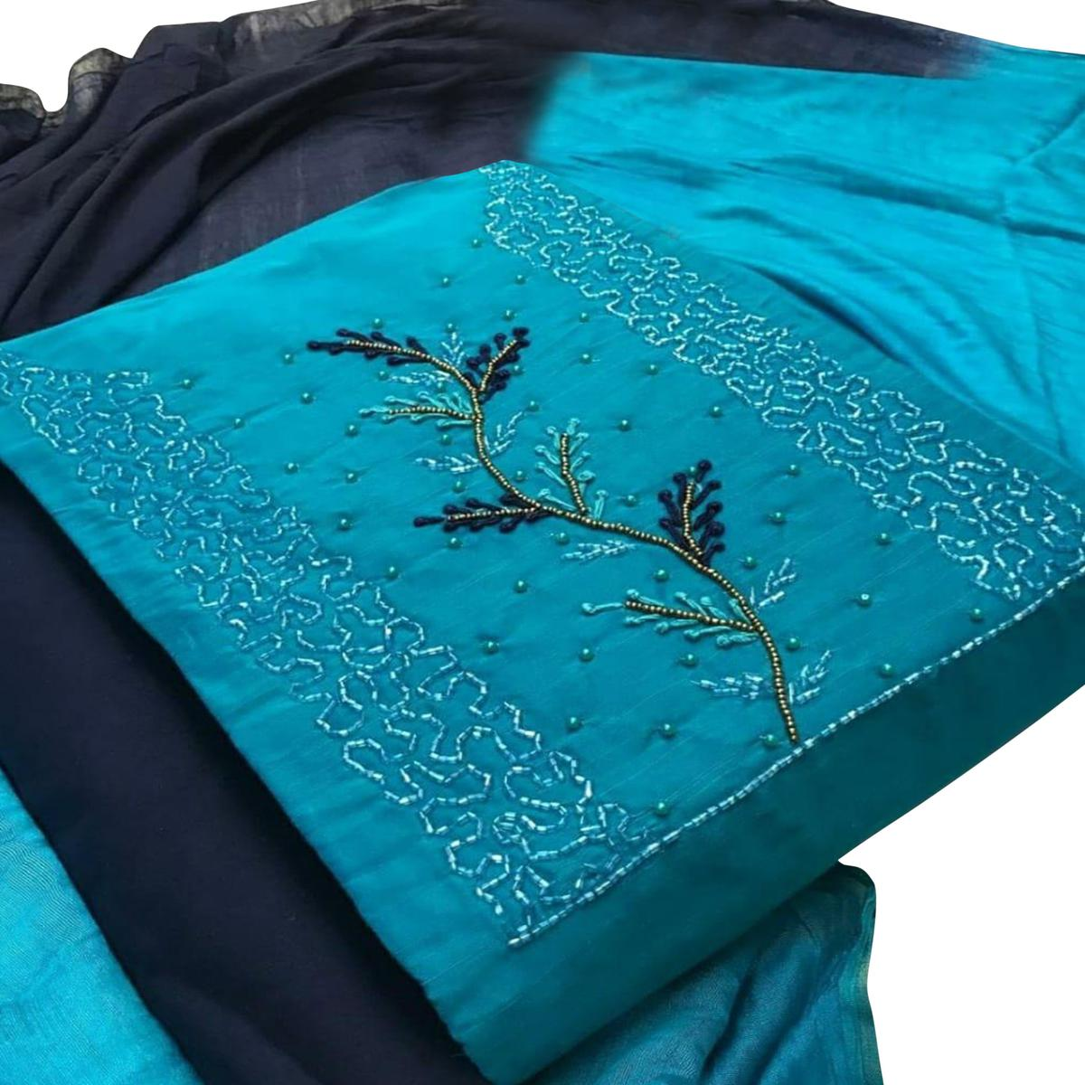 Mesmerising Blue  Colored Partywear Embroidered Cotton Dress Material