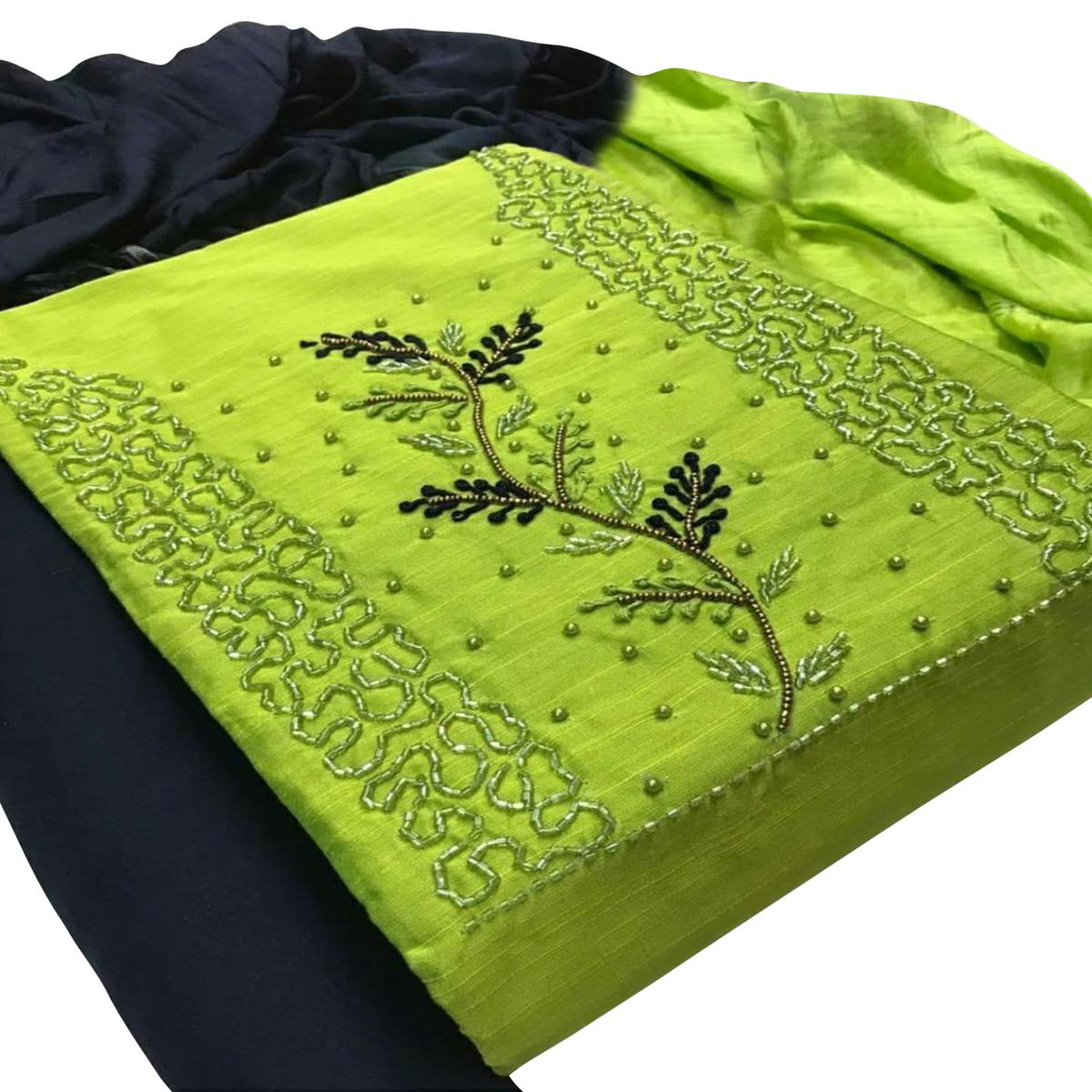Breathtaking Green Colored Partywear Embroidered Cotton Dress Material