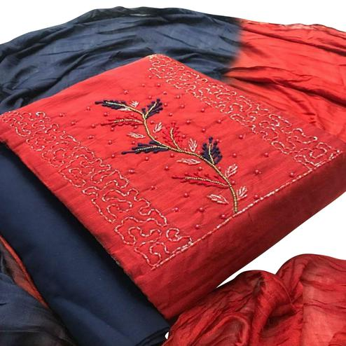 Ethnic Red Colored Partywear Embroidered Cotton Dress Material