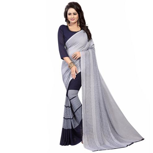 Gray-Navy Casual Wear Printed Half And Half Georgette Saree