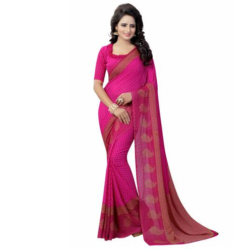Pink Casual Wear Printed Georgette Saree